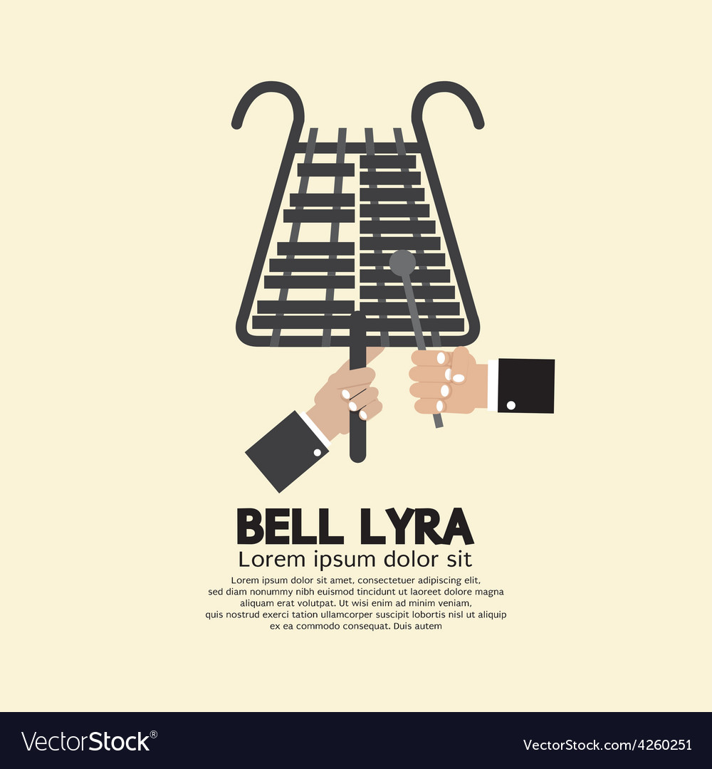 Flat design bell lyra with hands vector