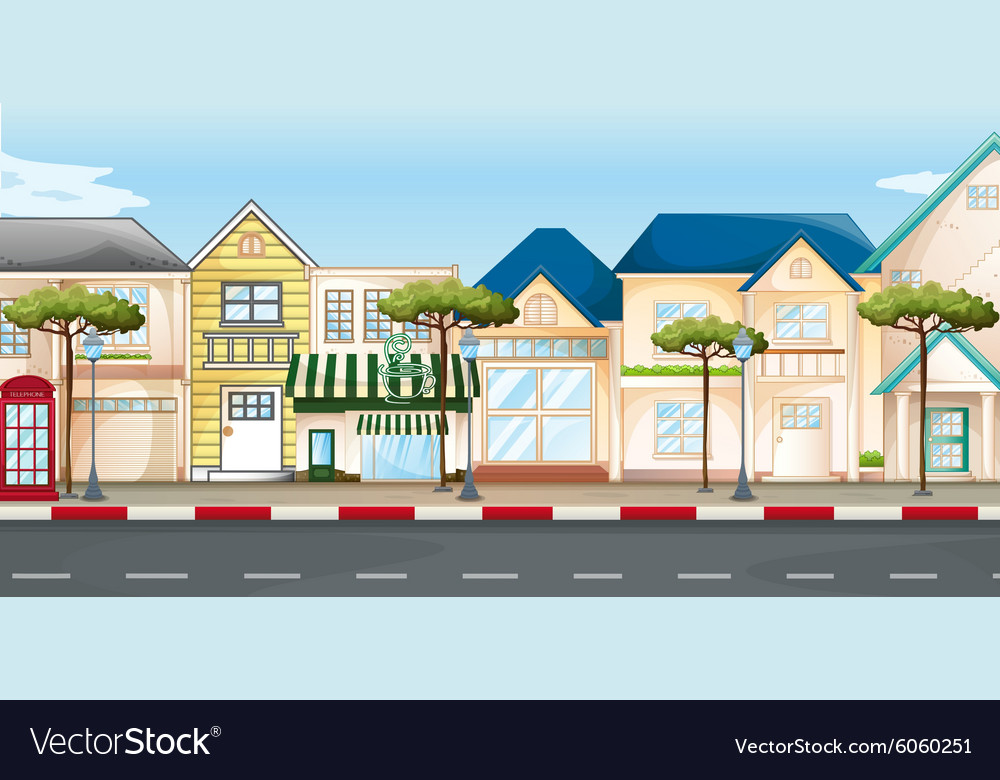 Shops and stores along the street vector
