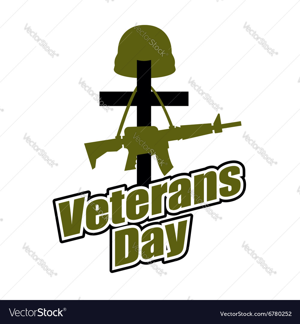 Cross and military helmet with gun veterans day vector