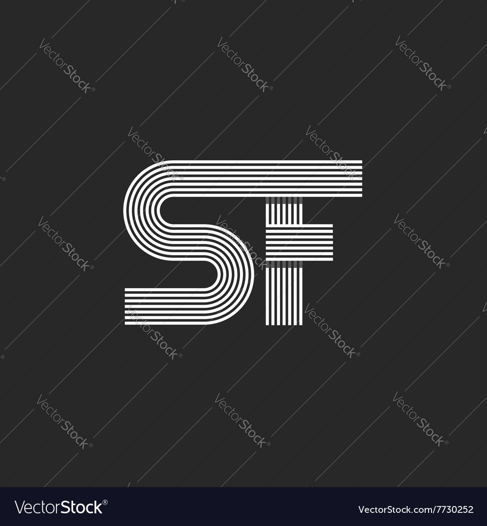 Letters sf logo monogram capital s linked f vector