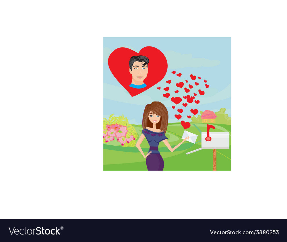 Girl and a love letter vector