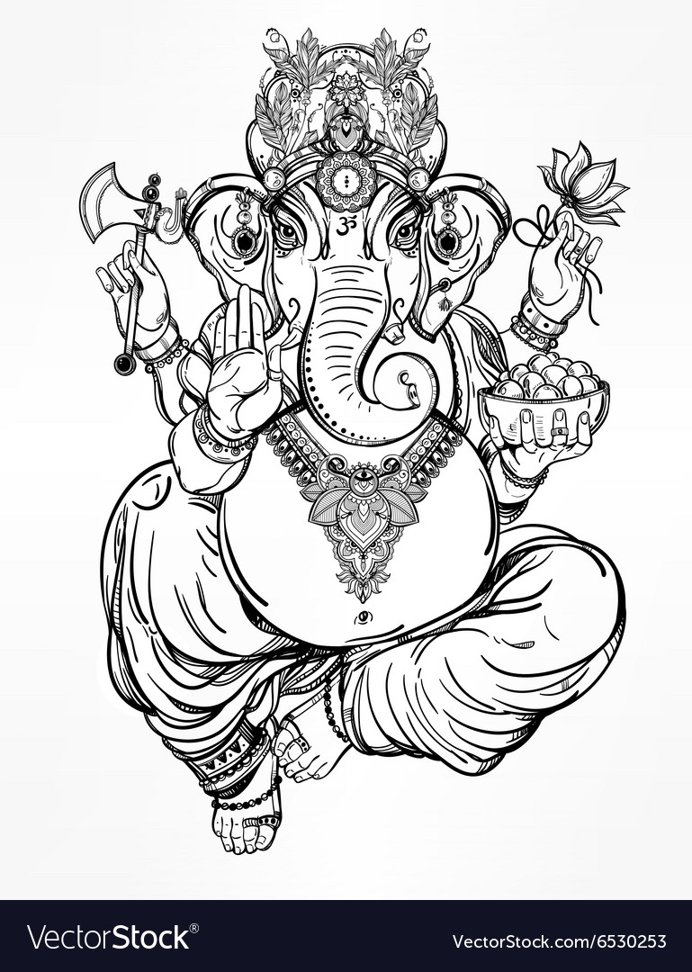 Hindu elephant head god lord ganesha vector