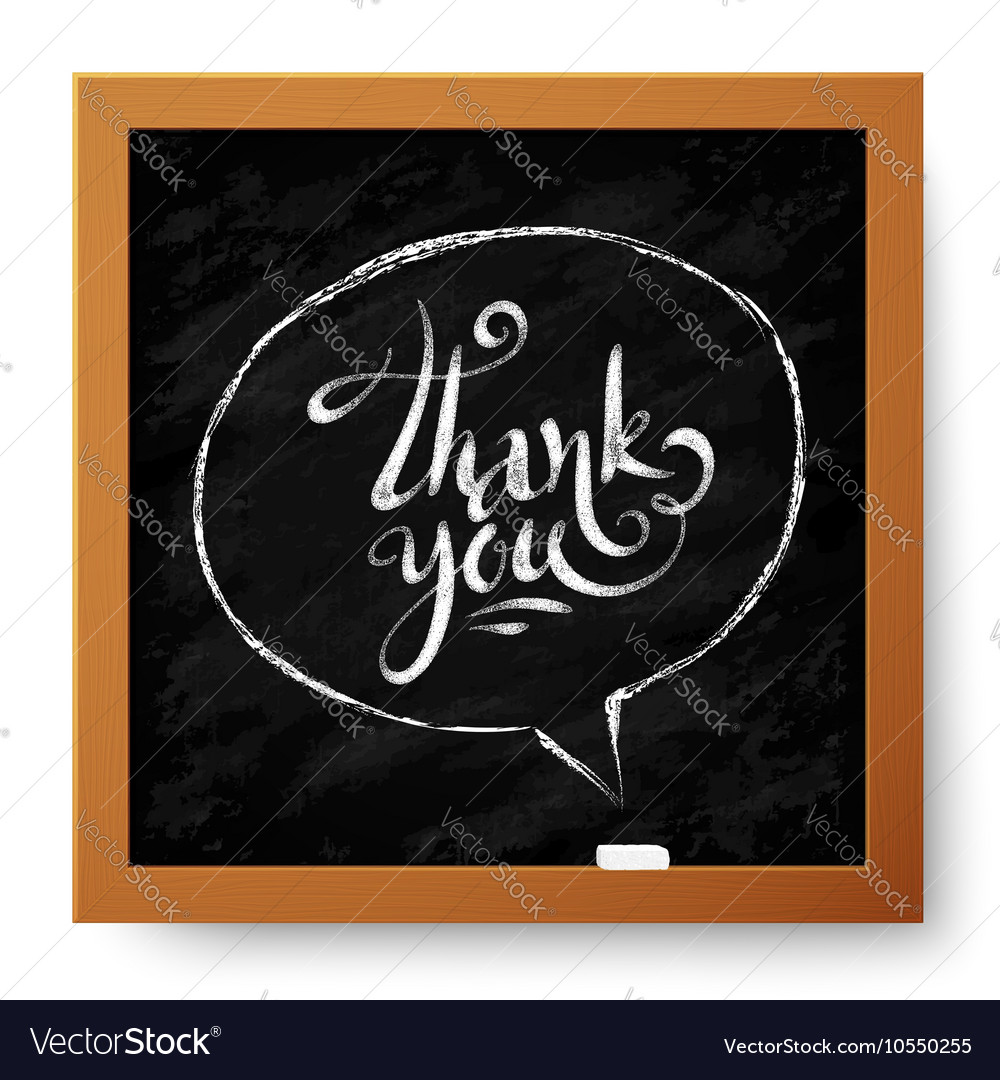 Hand drawn thank you sign in speech bubble on vector