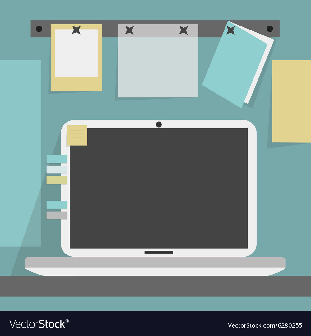 Open laptop on desk with pinned papers and a card vector