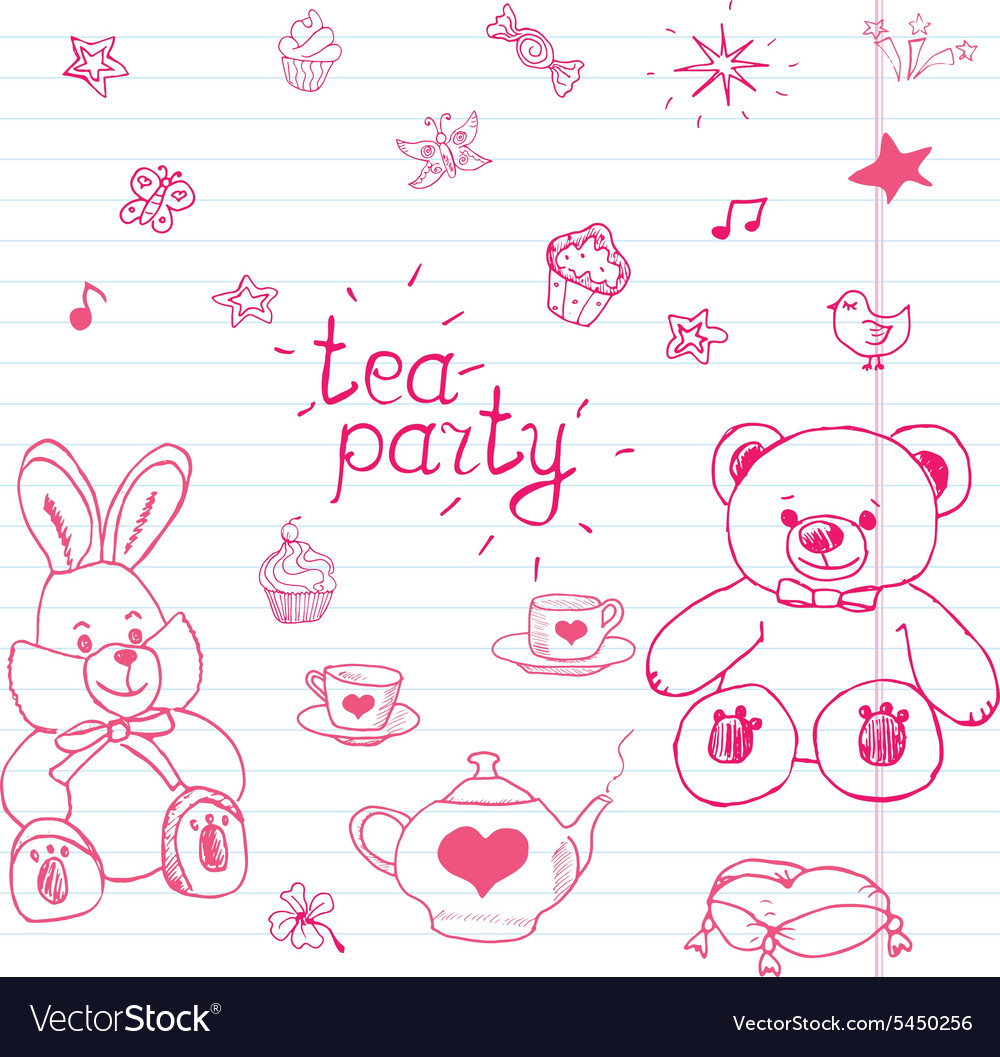 Hand drawn set of tea party with stuffed toys tea vector