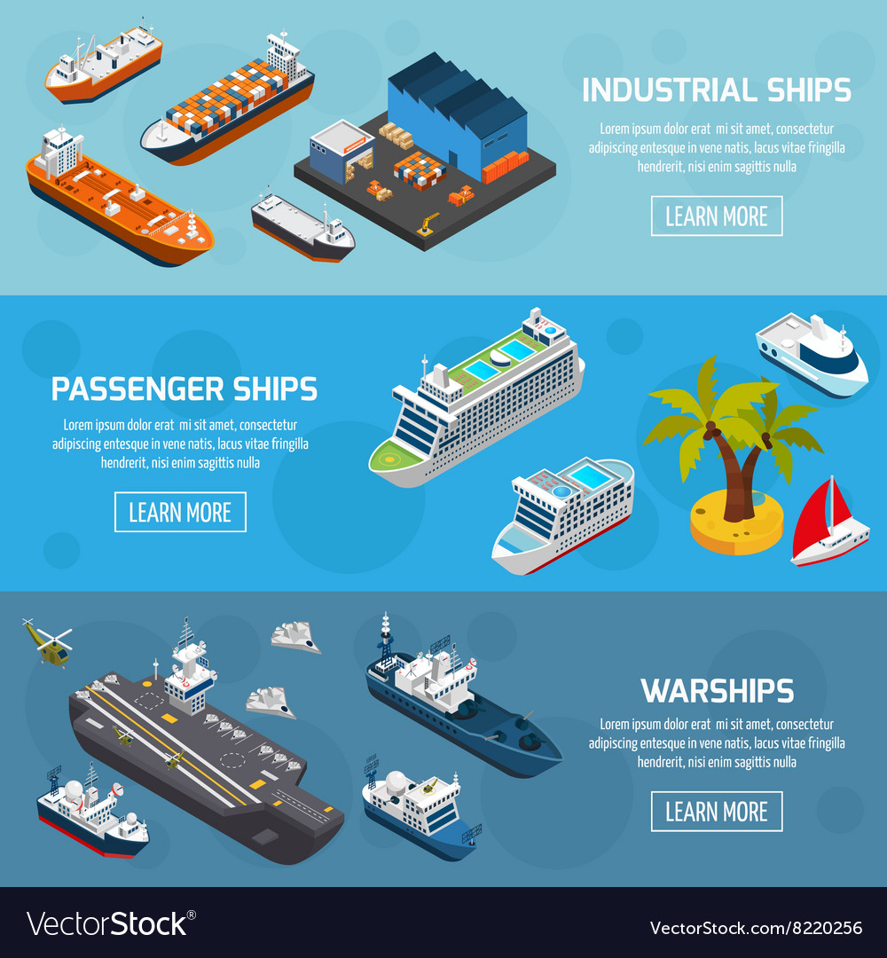 Ships boats vessels isometric banners set vector