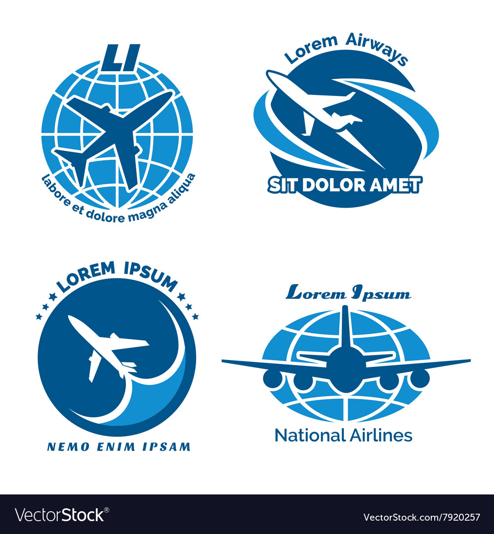 Aircraft logo emblems set vector