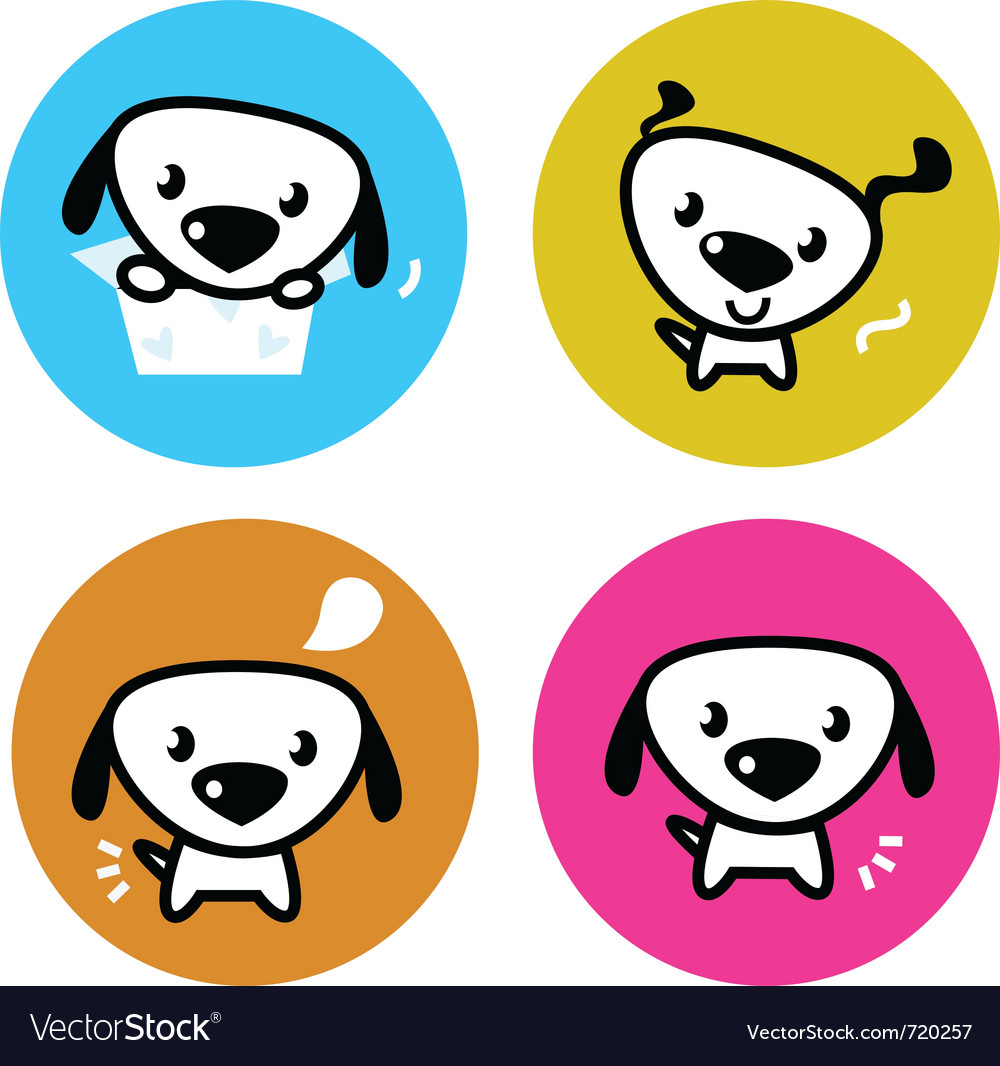 Cute dog icons vector