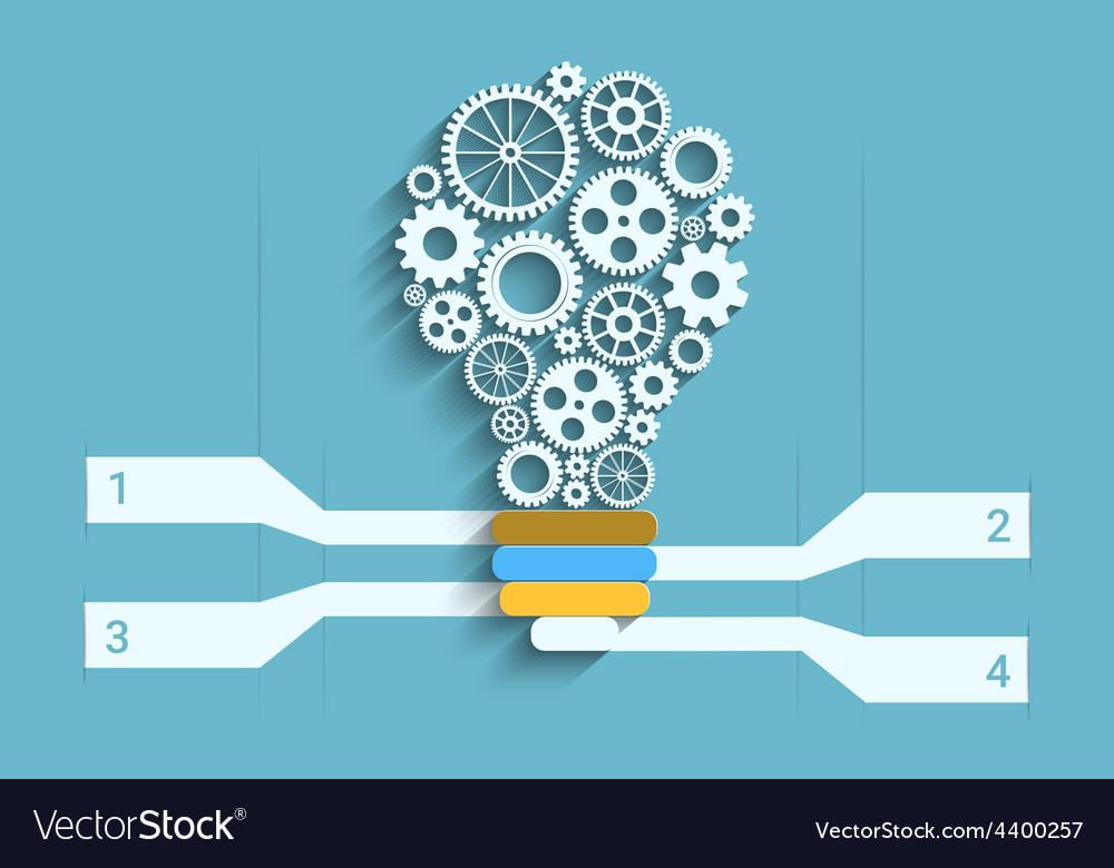 Light bulb paper cut with gears and copyspace 3d vector