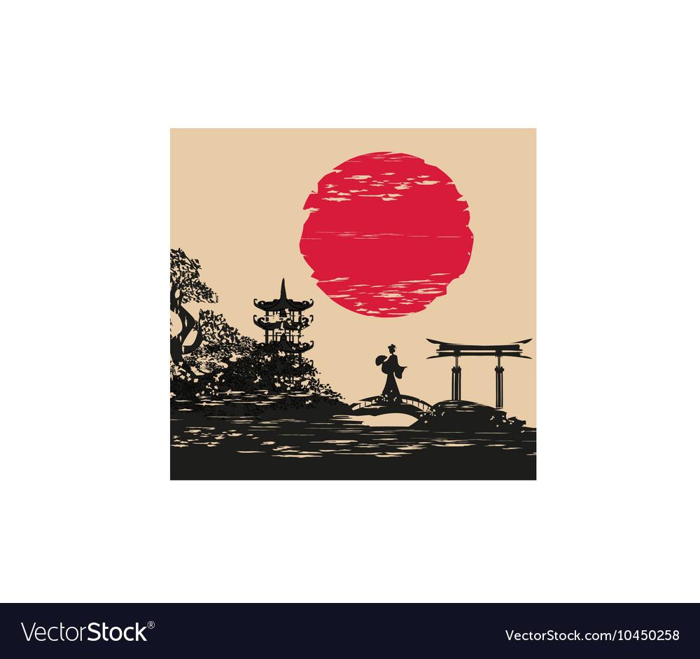Abstract asian landscape and beautiful asian girl vector