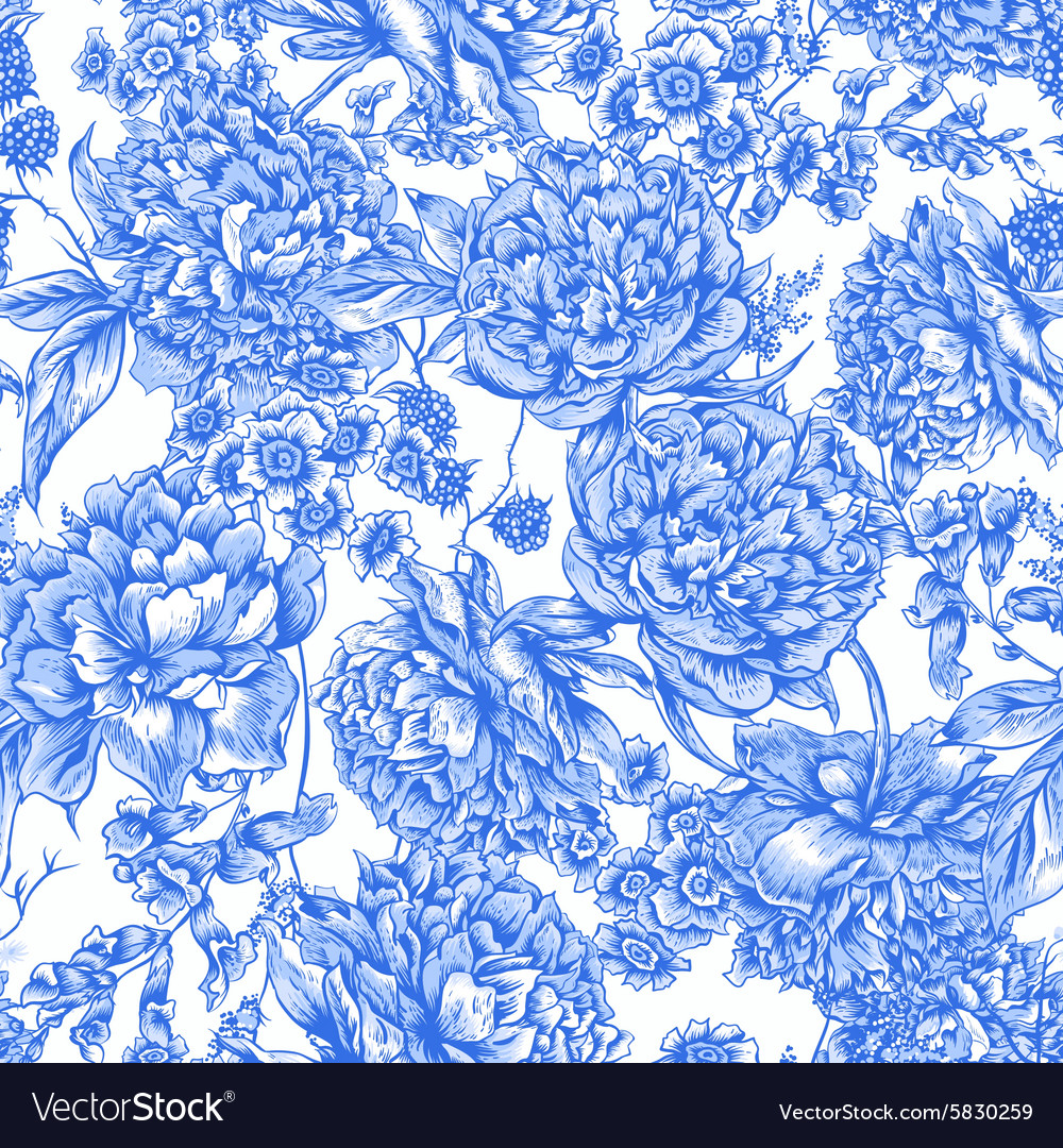 Blue floral seamless pattern with peonies in vector