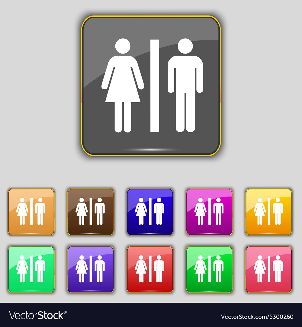 Silhouette of a man and a woman icon sign set with vector