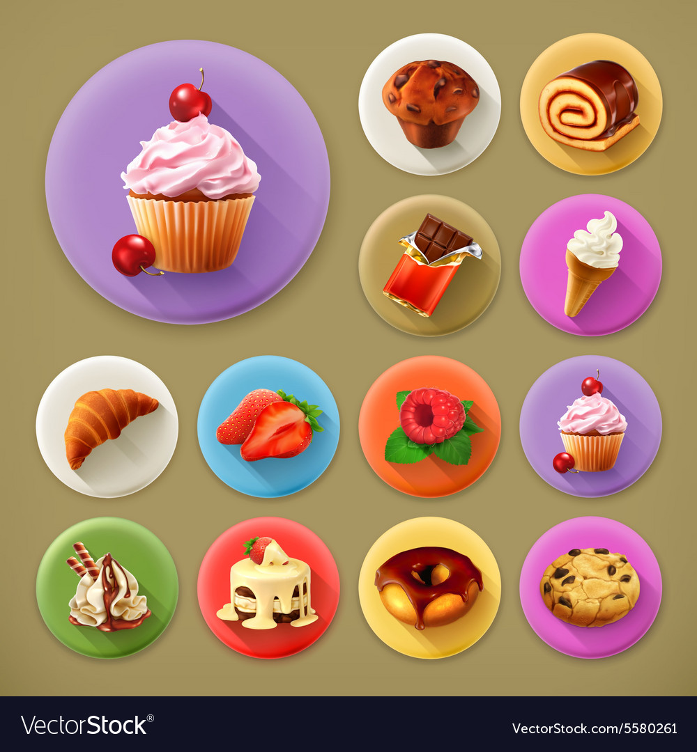 Sweet and tasty long shadow icon set vector
