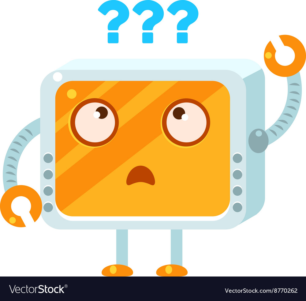 Puzzled little robot character vector