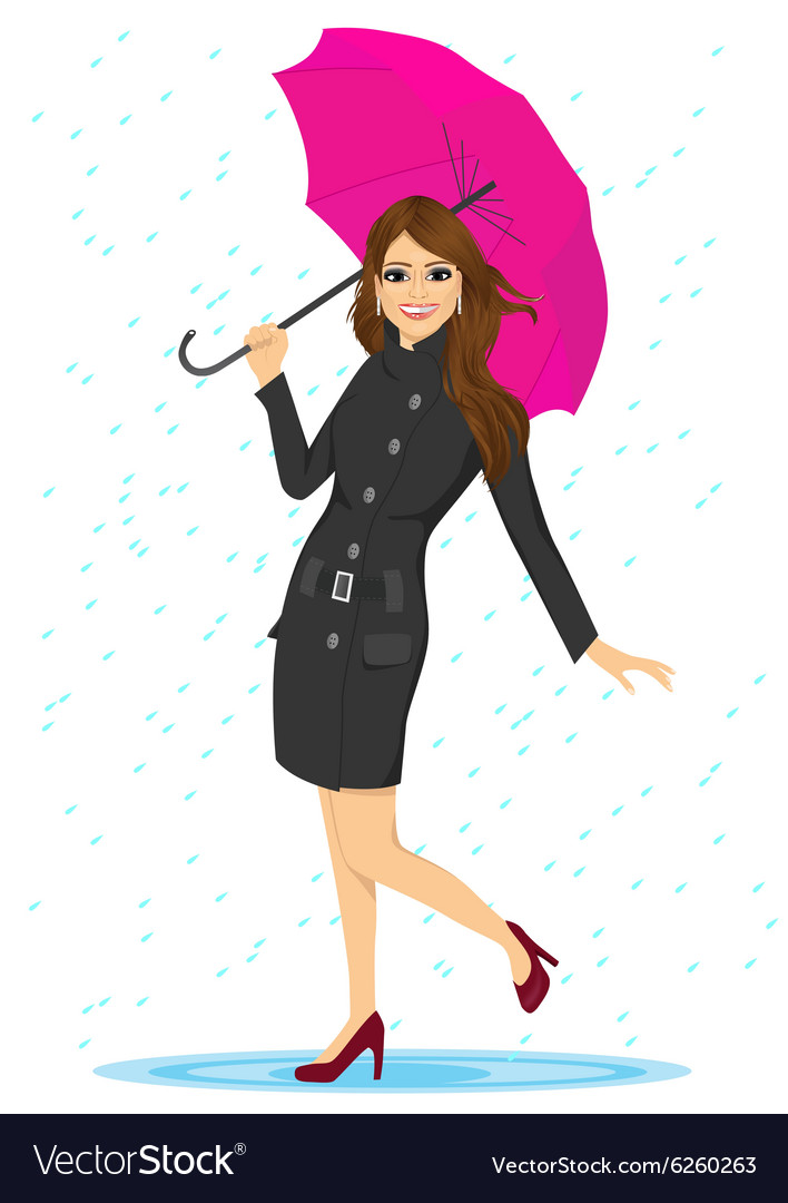 Friendly woman holding an umbrella vector