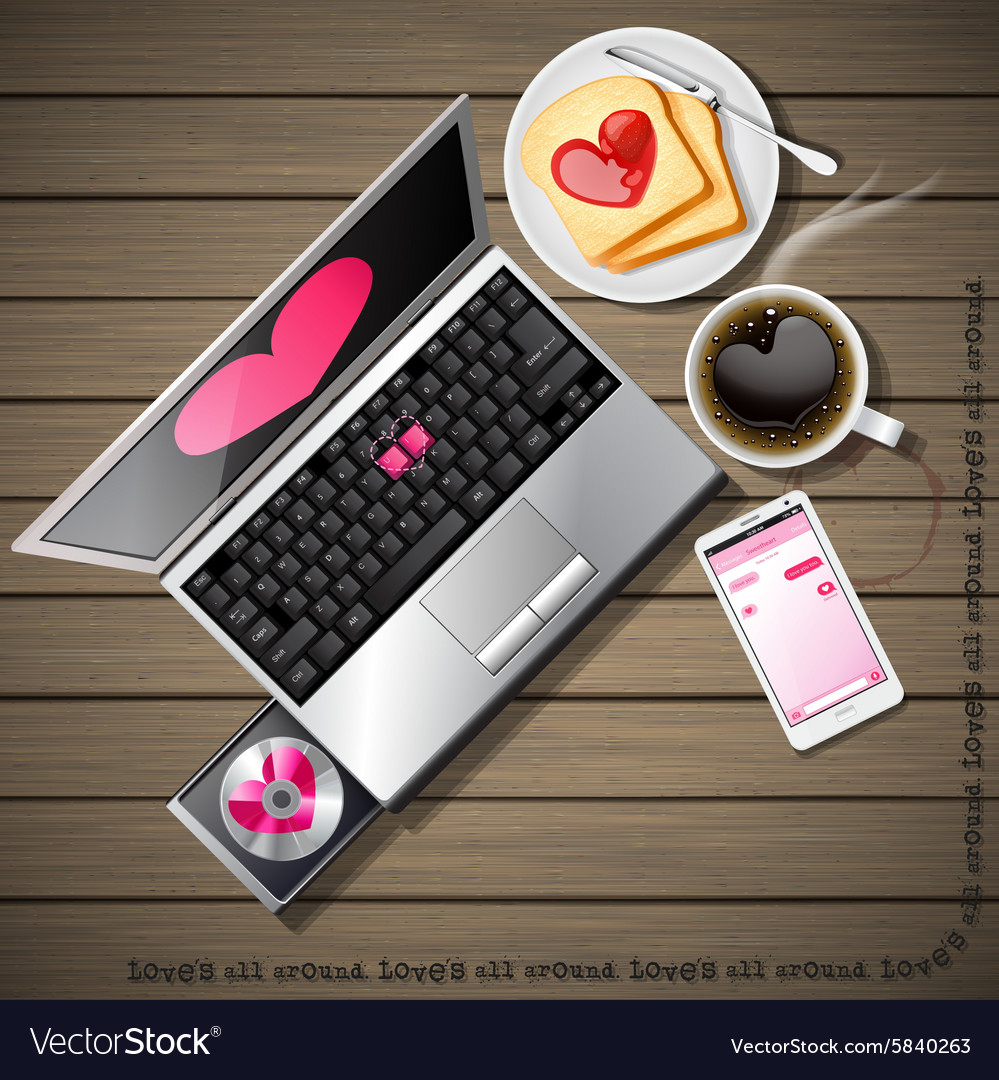 Laptop and mobile phone with coffee and bread vector