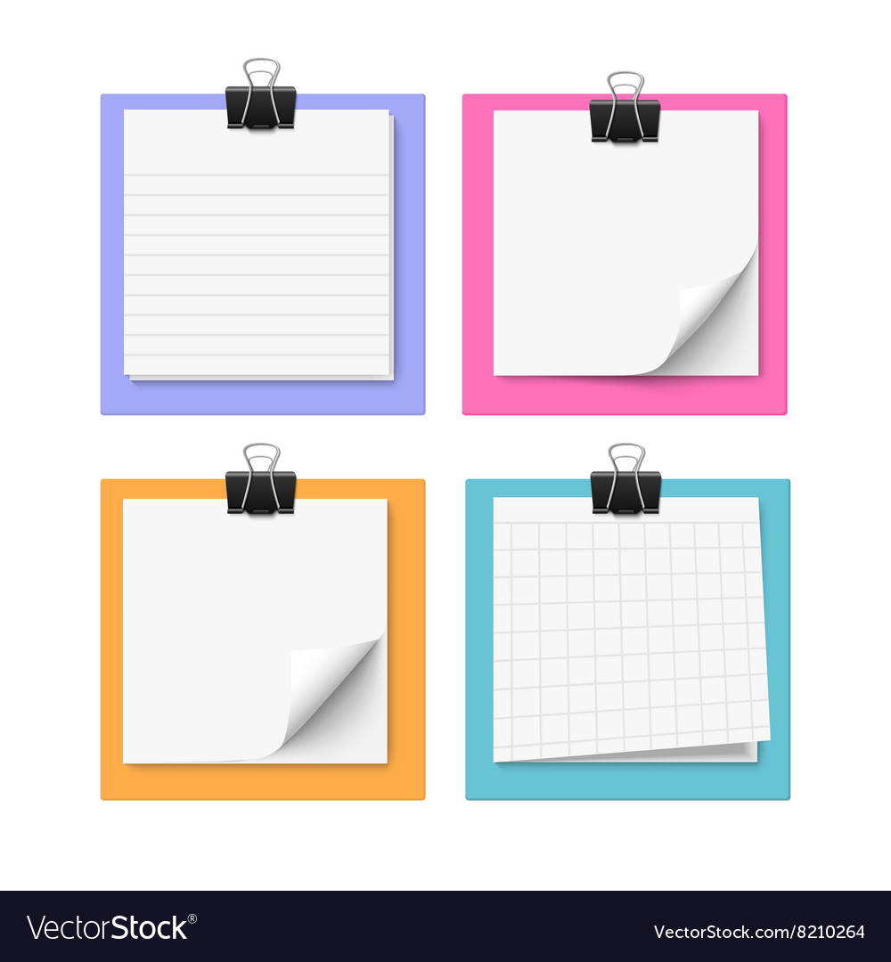 Set of four white sticky notes vector