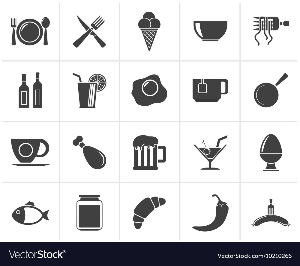 Black food drink and restaurant icons vector