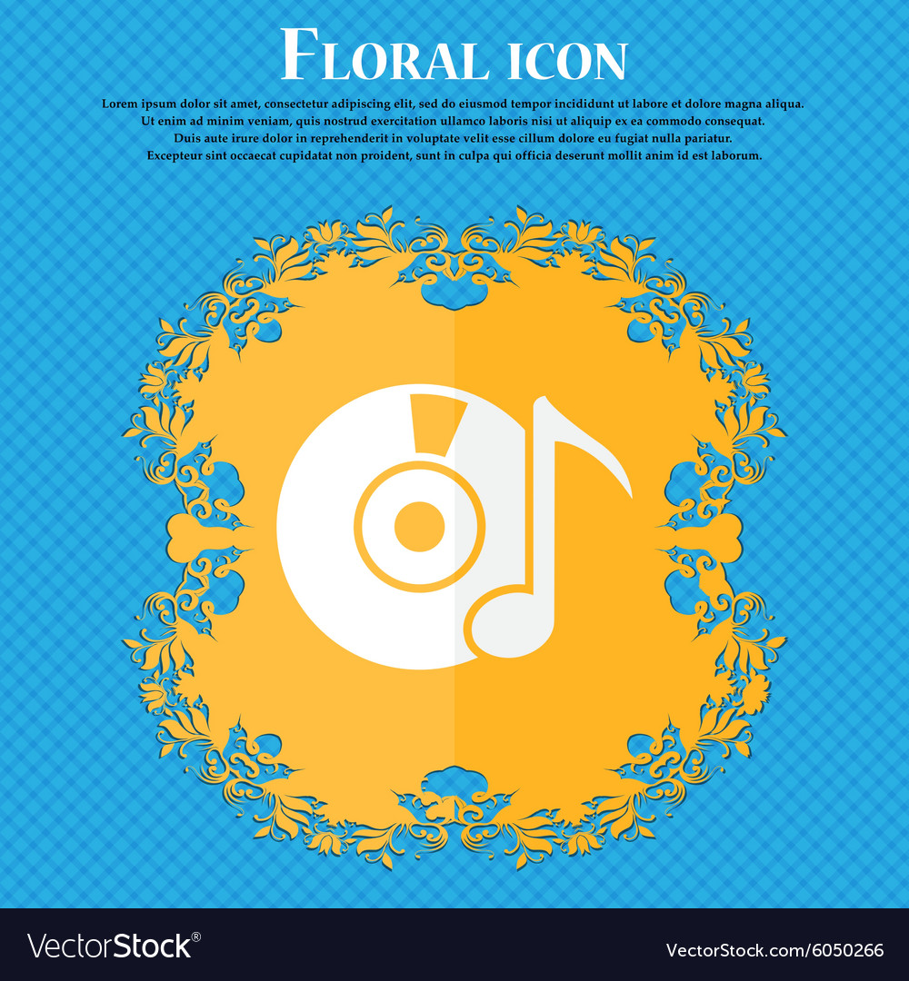 Cd or dvd icon sign floral flat design on a blue vector