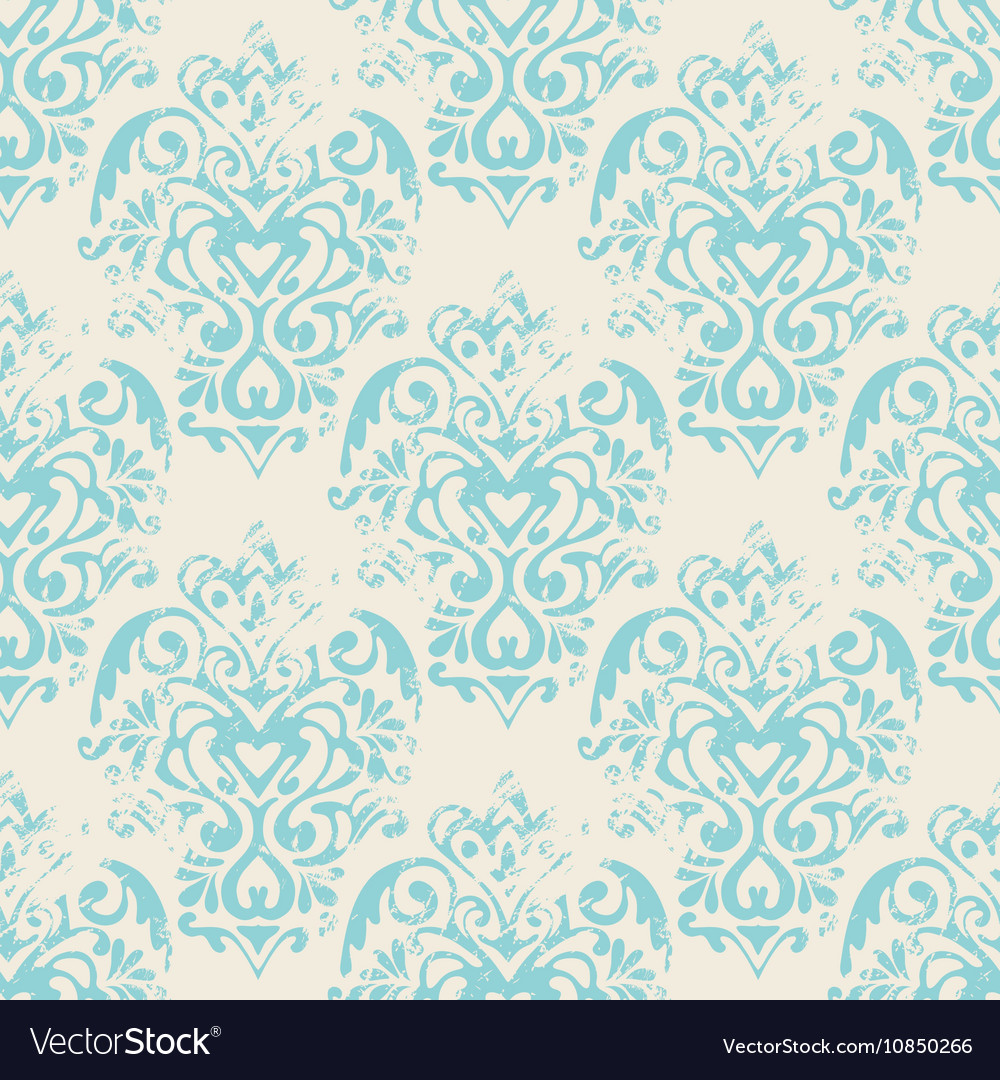 Damask grunge seamless pattern vector