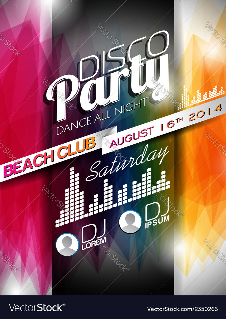 Disco party flyer design on abstract background vector