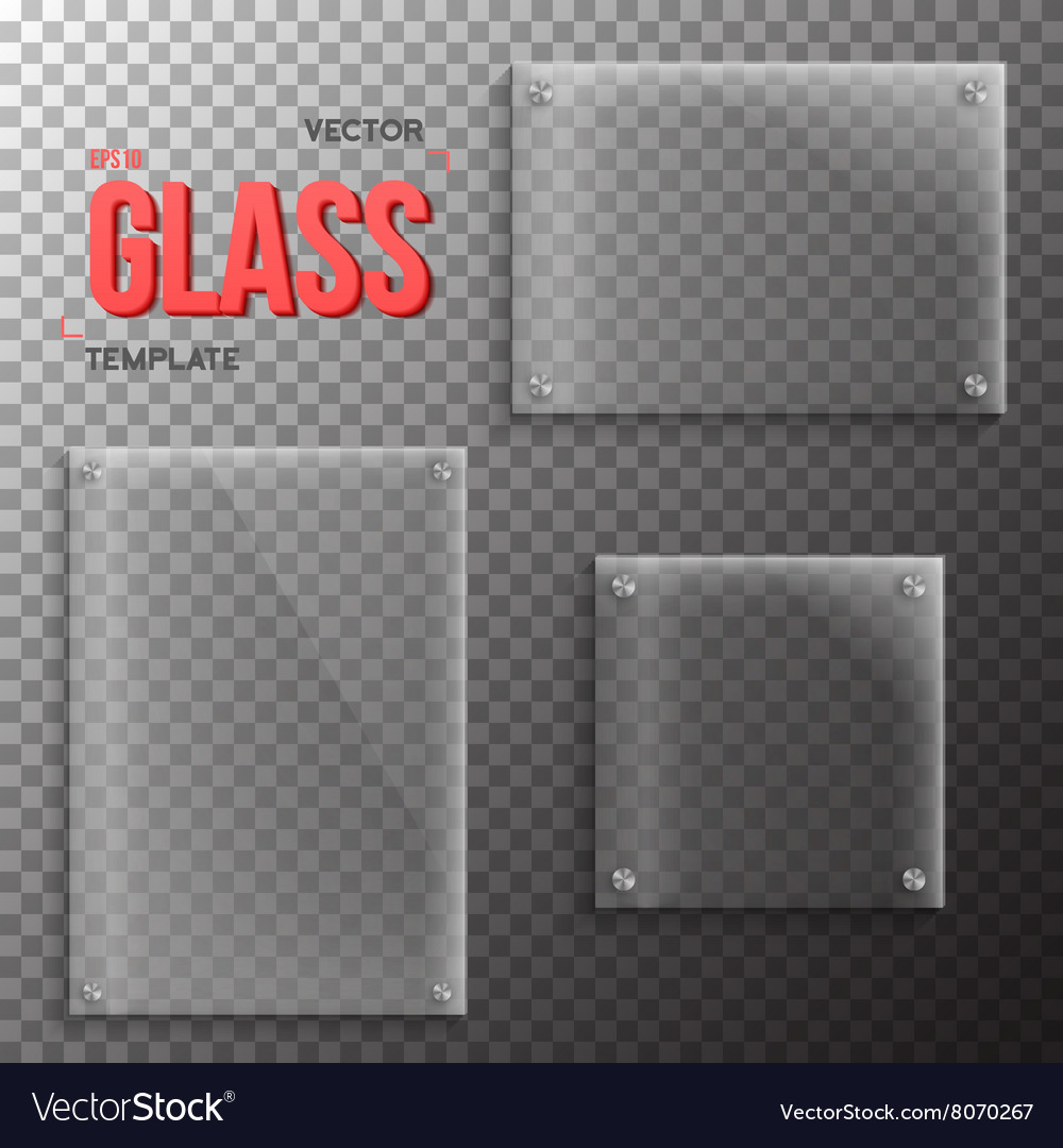 Set of realistic glass plate template vector