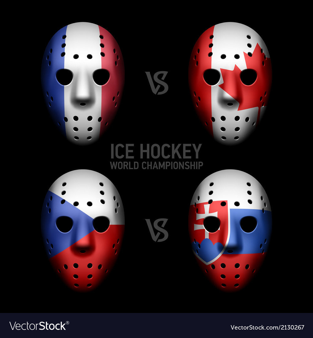 Vintage goalie masks with flags vector