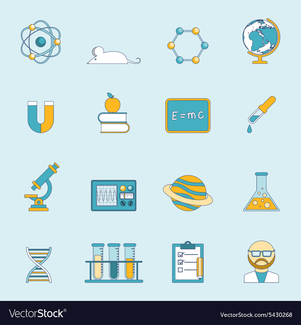 Science and study icon set vector