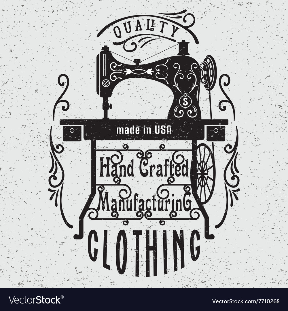 Typography poster with vintage sewing machine vector