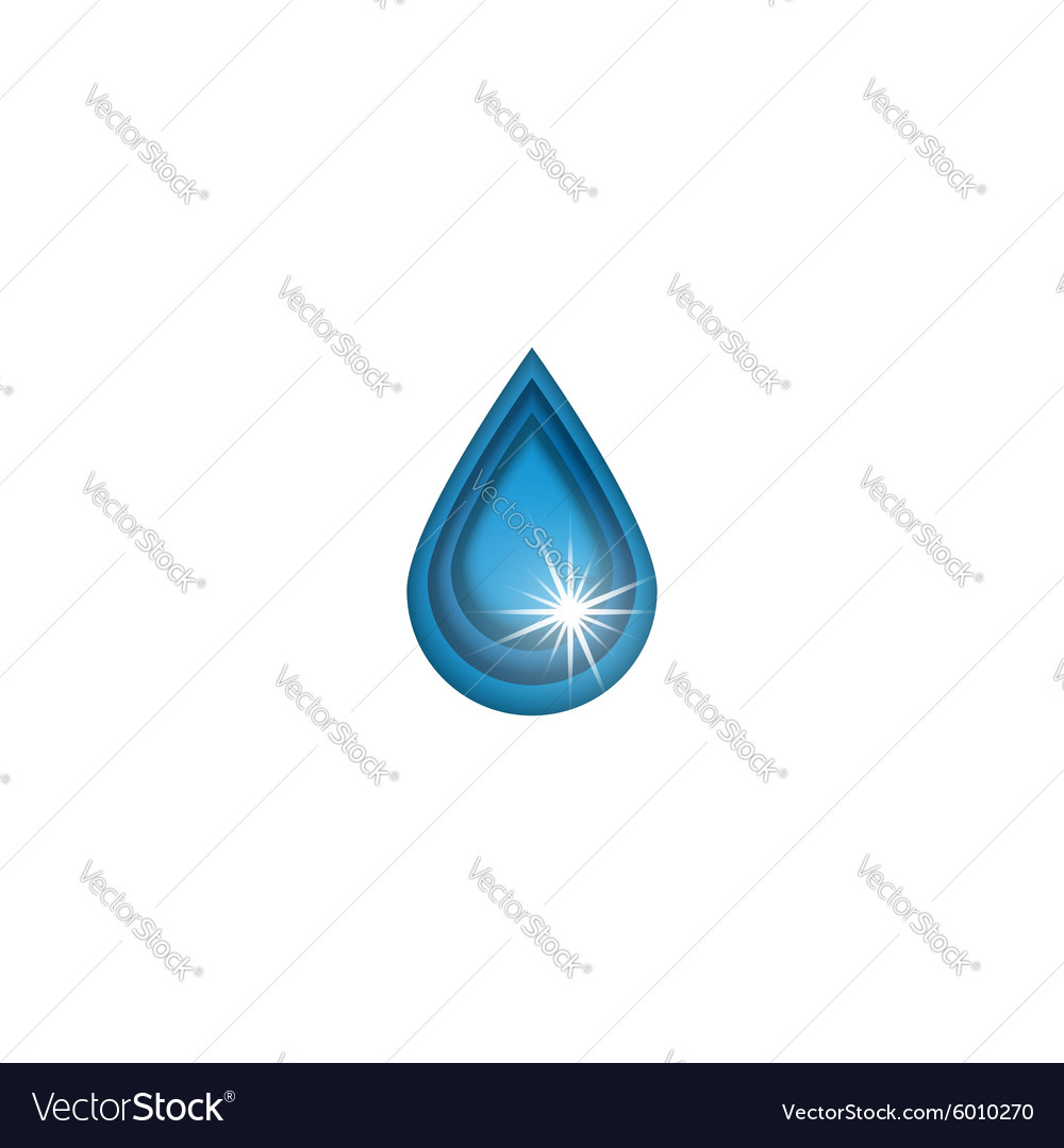 3d water drop logo sun shine mockup cleaning vector