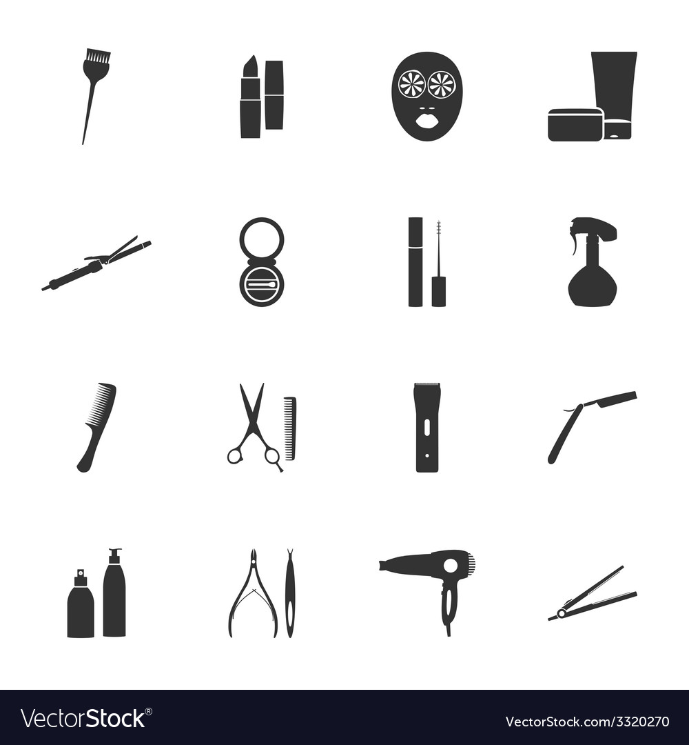 Beauty salon silhouettes flat icons set vector