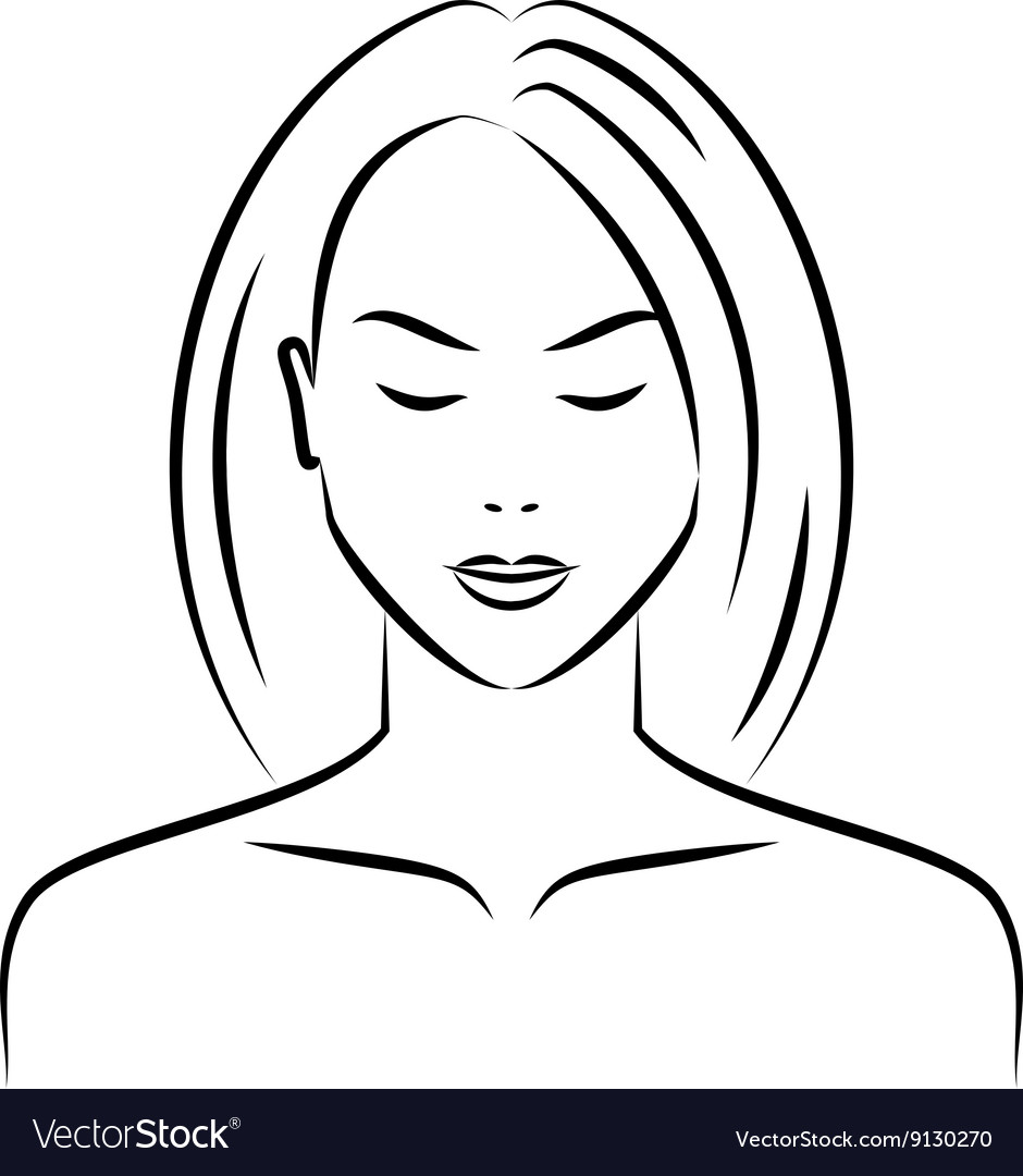 Hand drawn female face vector