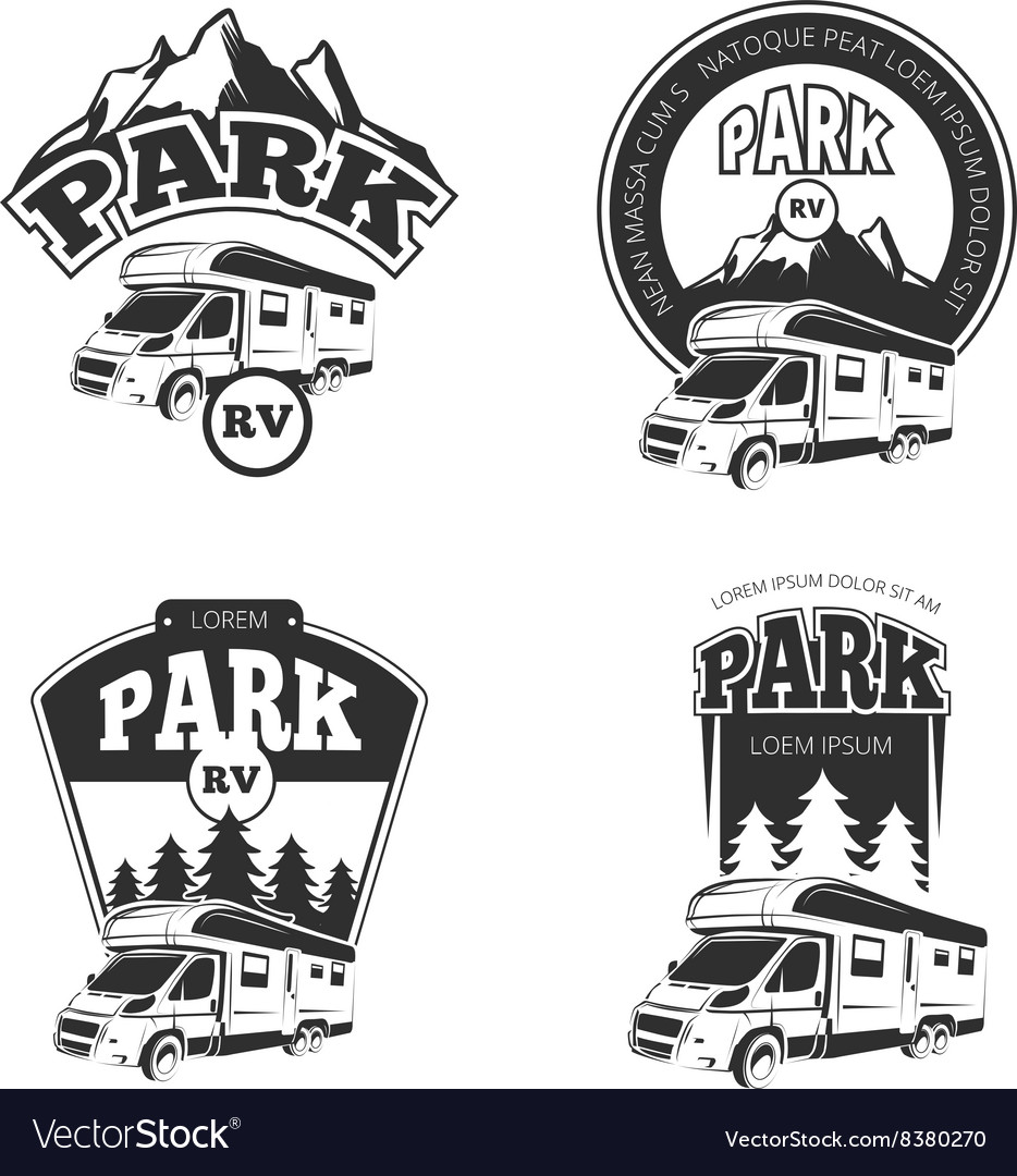 Rv and campers emblems labels badges vector