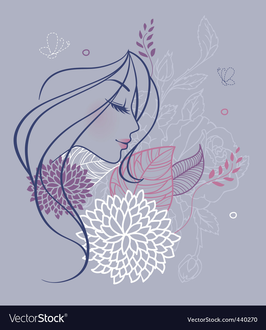 Woman profile flowers backer vector