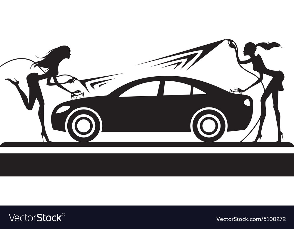 Car wash with fashion models vector