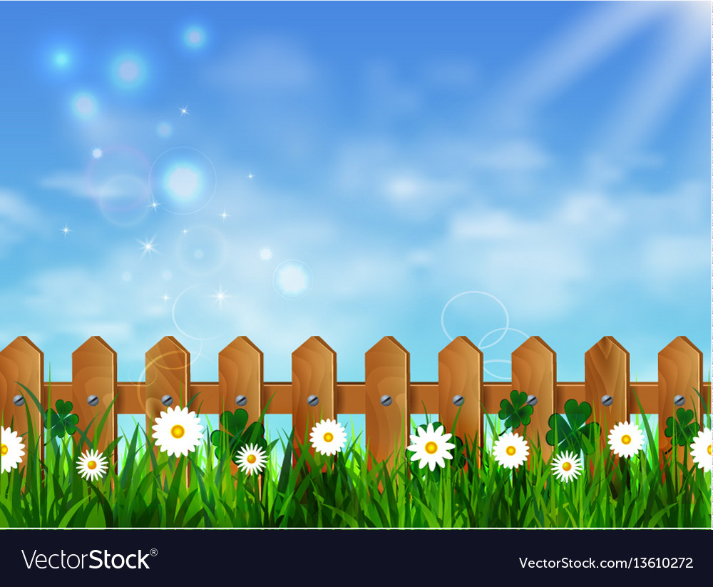 Green grass lawn with sunrise on blue sky vector