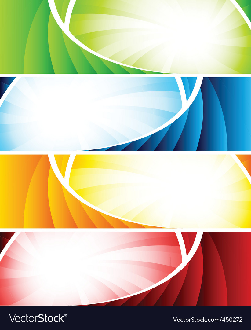 Set of four colorful banners vector