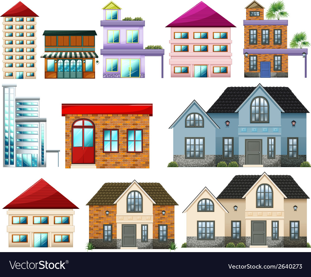 Different buildings vector