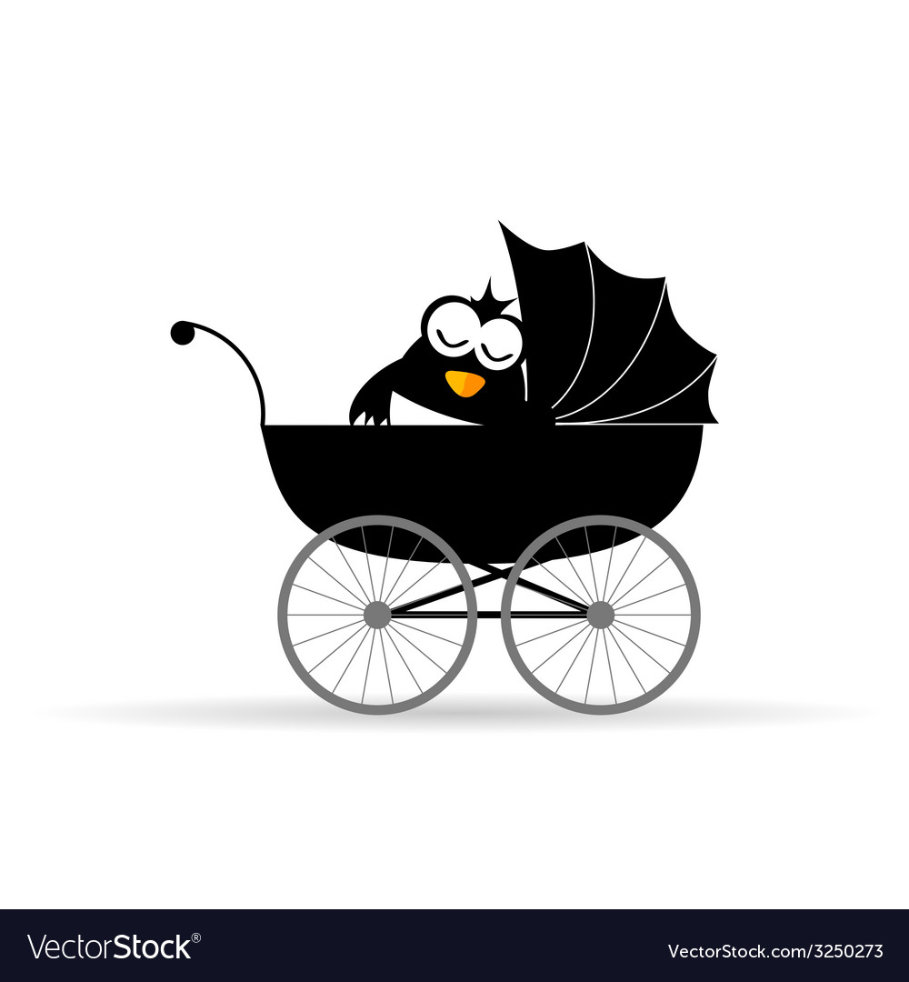 Penguin in a baby stroller vector