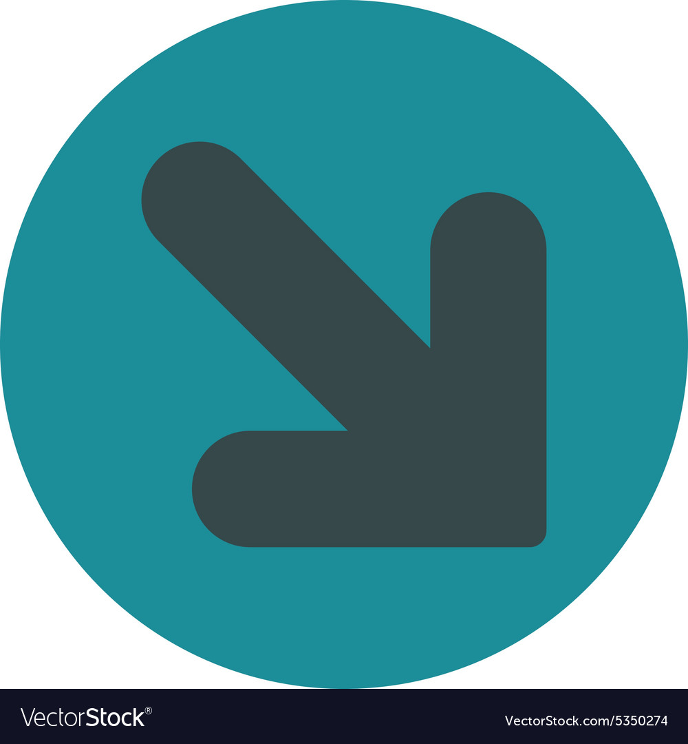 Arrow down right flat soft blue colors round vector