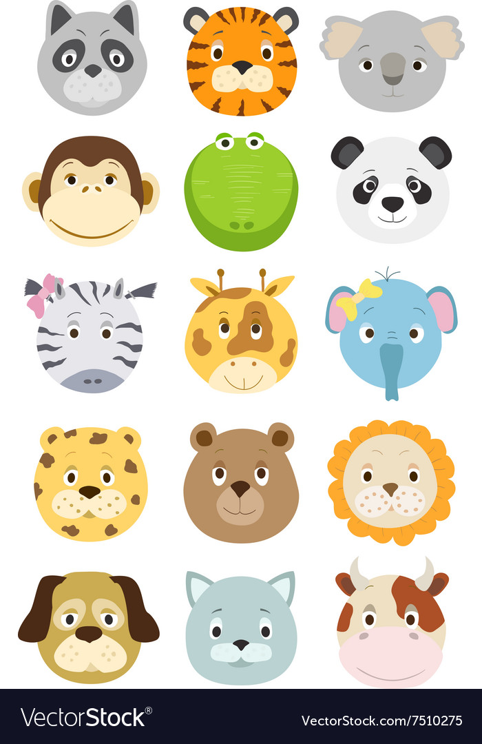 Cute cartoon animals faces set vector