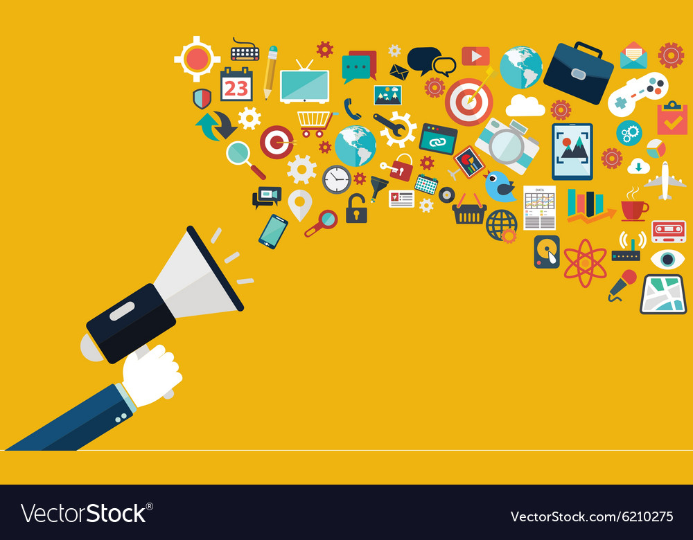 Digital marketing flat hand with speaker vector