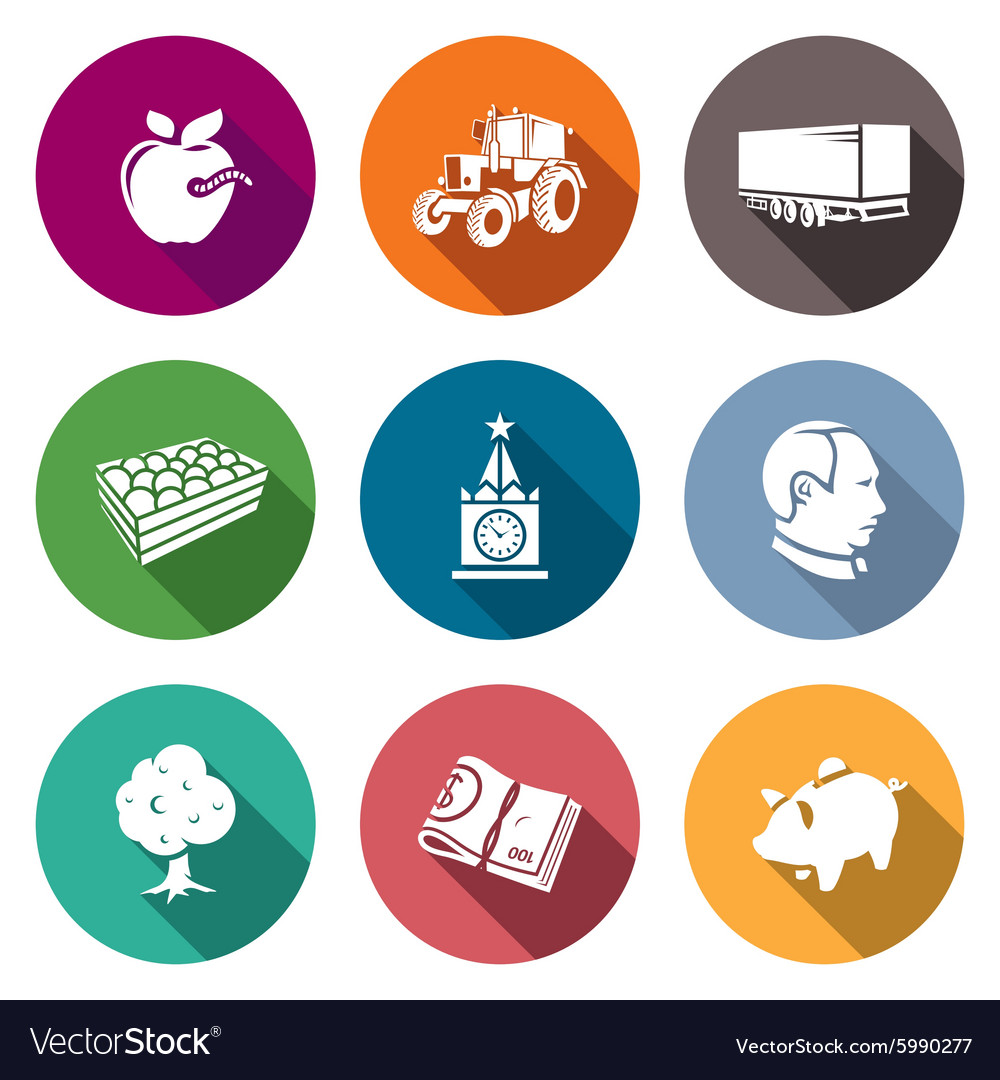 Export of polish apples icons set vector