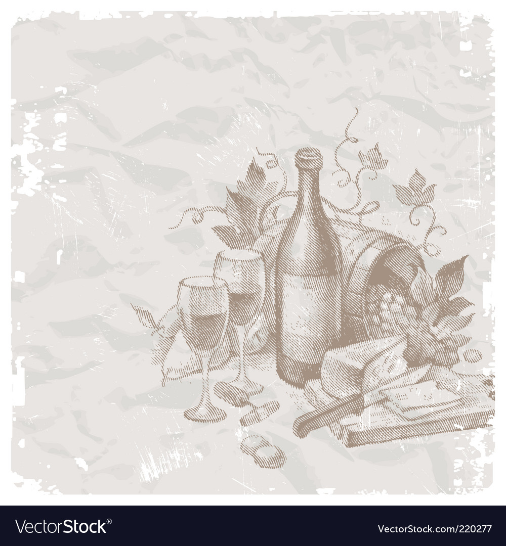 Wine and food vector