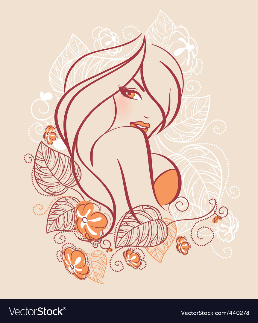Face women floral vector