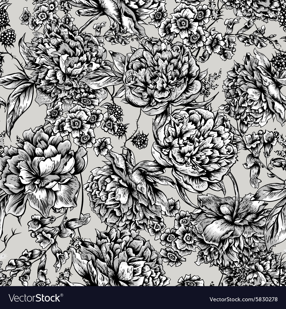 Floral seamless pattern with peonies in vintage vector
