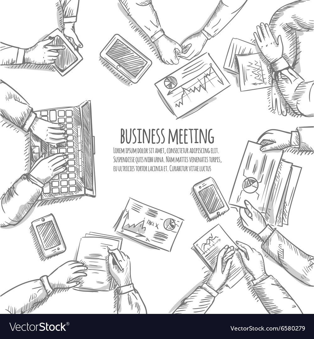 Business meeting sketch vector