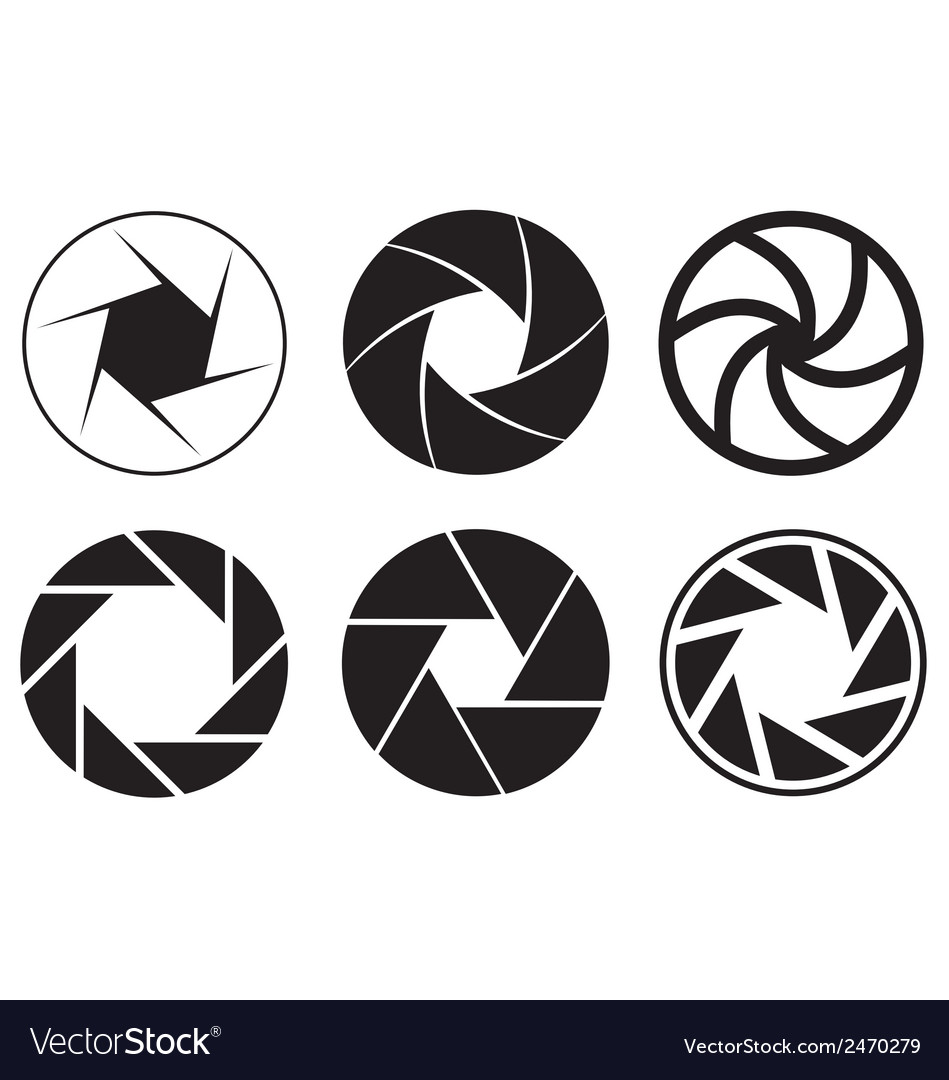 Camera aperture icons vector
