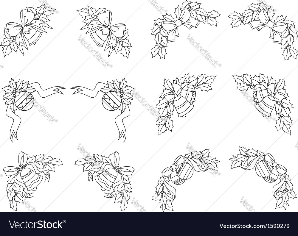 Christmas decorations and corners vector