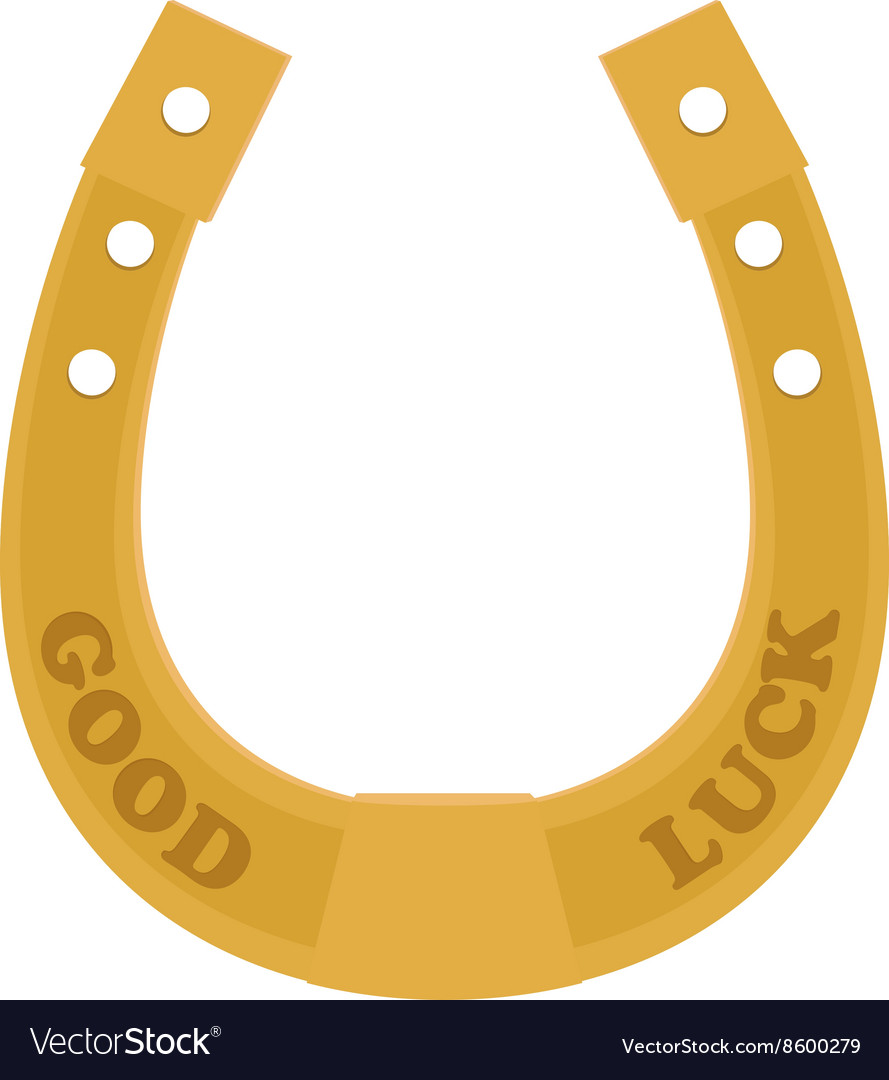 Golden horseshoe traditional good luck charm vector